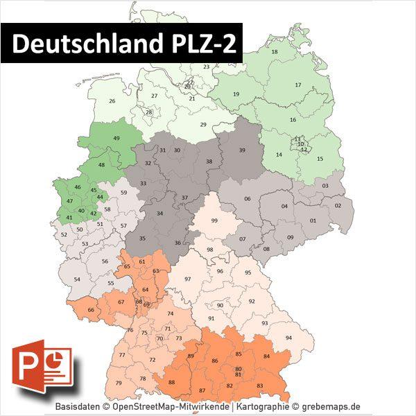 PowerPoint-Karte Deutschland Postleitzahlen PLZ-2 mit Bitmap-Karten, Karte PLZ Deutschland
