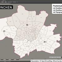 München Stadtplan Postleitzahlen PLZ-5 Topographie Stadtbezirke Stadtteile, Karte PLZ München, Karte Postleitzahlen München, Karte Stadtteile München, Karte Stadtbezirke München, Landkarte München, Karte PLZ München Stadtteile