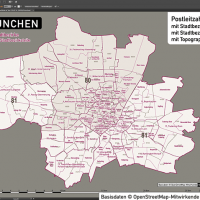 München Postleitzahlen PLZ-5 Topographie Stadtbezirke Stadtteile Vektorkarte, Karte PLZ München, Karte Postleitzahlen München, Karte Stadtteile München, Karte Stadtbezirke München, Landkarte München, Karte PLZ München Stadtteile
