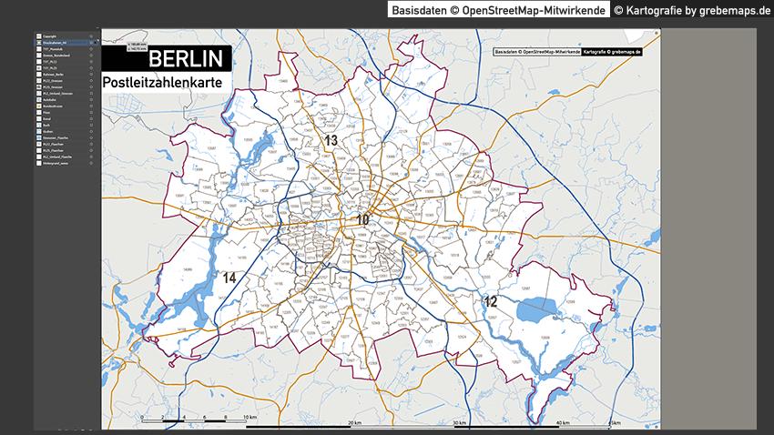 Berlin Karte Postleitzahlen PLZ-5-2 Vektorkarte, Karte Berlin PLZ, Postleitzahlenkarte Berlin, Berlin PLZ Karte, Karte PLZ Berlin, Karte PLZ 5-stellig Berlin, Vektorkarte PLZ Berlin