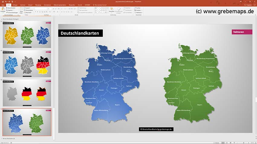 PowerPoint-Karte Deutschland Landkreise Bundesländer, Karte Deutschland Landkreise PowerPoint, Karte Deutschland Bundesländer PowerPoint, Karte PowerPoint Deutschland Landkreise