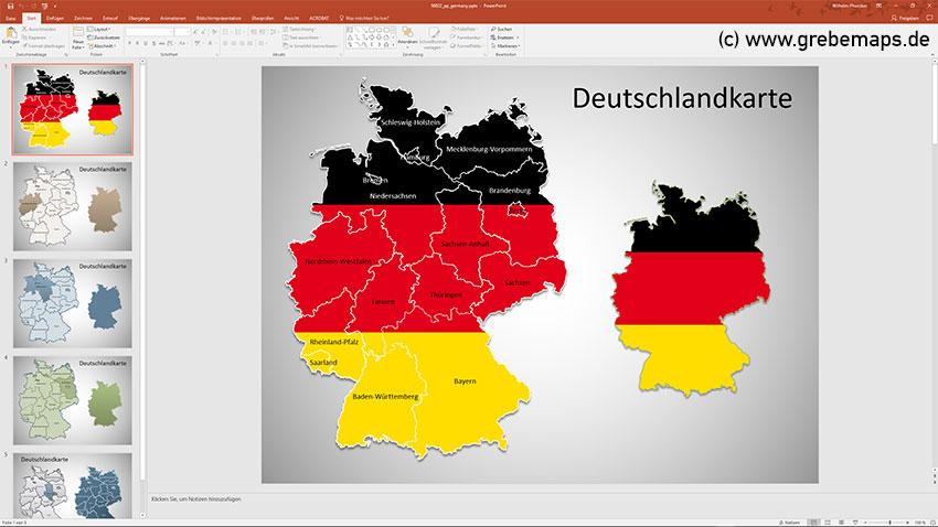 Deutschland PowerPoint-Karte Bundesländer, Karte Deutschland Bundesländer, Bundesländer Karte Deutschland PowerPoint