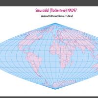 Weltkarte, Karte Welt Vektor, Vektorkarte Welt, sinusoidal