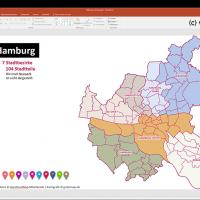 Hamburg PowerPoint-Karte mit Bezirken und Stadtteilen mit Bitmap-Karten, Karte Hamburg Stadtbezirke PowerPoint, Karte Hamburg Stadtteile PowerPoint