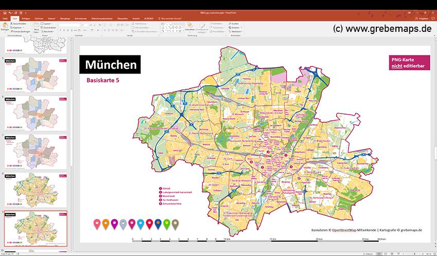 München PowerPoint-Karte mit Bezirken und Stadtteilen mit Bitmap-Karten, Karte München PowerPoint, Karte München Stadtteile PowerPoint, Karte München Stadtbezirke PowerPoint, PowerPoint-Landkarte München