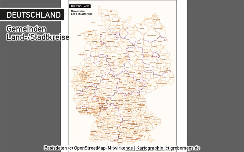 Deutschland Gemeinden MIT Gemeindenamen Vektorkarte Landkreise, Karte Deutschland Gemeinden, Karte Deutschland Landkreise, Landkreise Deutschland Vektorkarte, Gemeinden Deutschland Vektorkarte