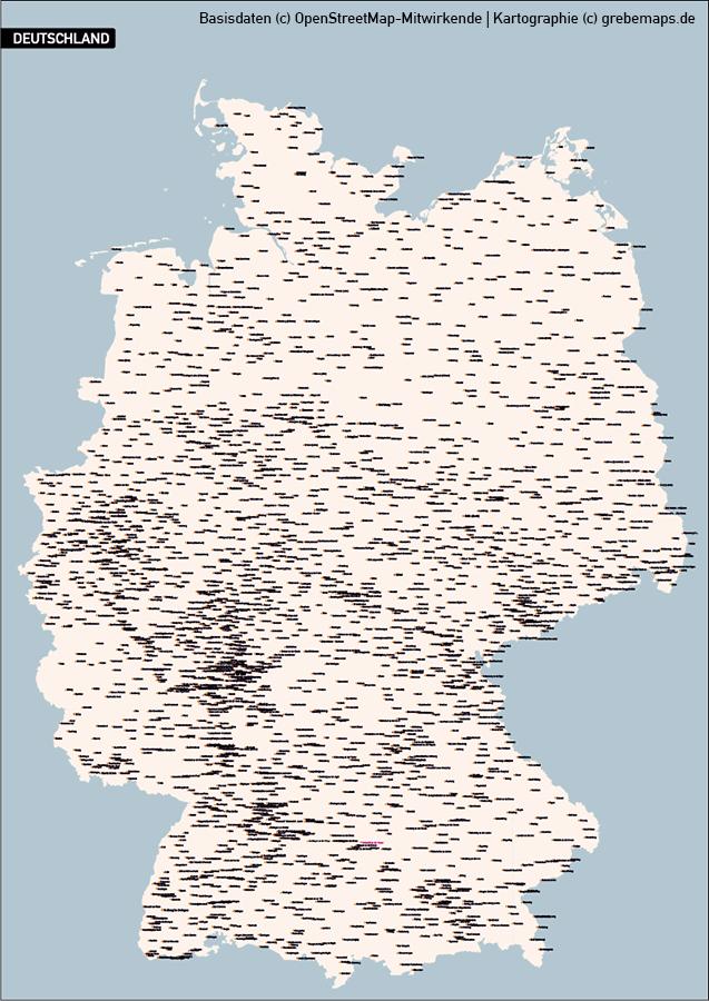 Karte Deutschland Orte Städte, Vektorkarte Deutschland Orte Städte