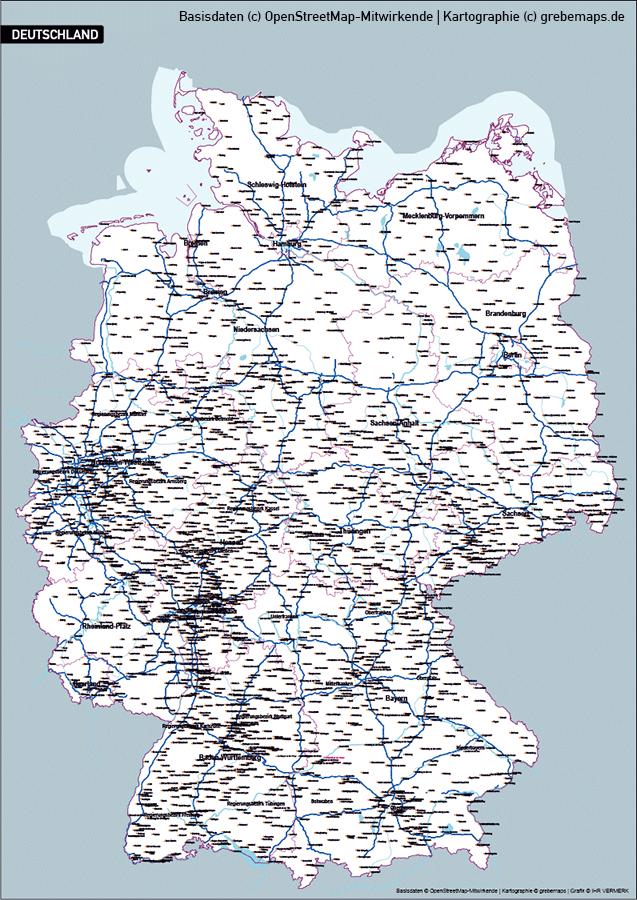 Karte Deutschland Bundesländer, Vektorkarte Deutschland Bundesländer Orte Städte Gewässer Autobahnen