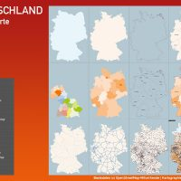 Basiskarte Deutschland mit Autobahnen, Bundesländern, Regierungsbezirken, Orten, Gewässer
