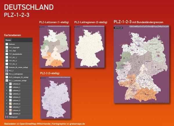 Postleitzahlenkarte Deutschland PLZ-1-2-3