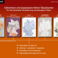Deutschland Postleitzahlenkarte Landkreise Gemeinden Vektorkarte – BUNDLE mit 5 Karten (2018), Vektordaten, editierbar, kombinierbar, ebenen-separiert, AI-Datei, download