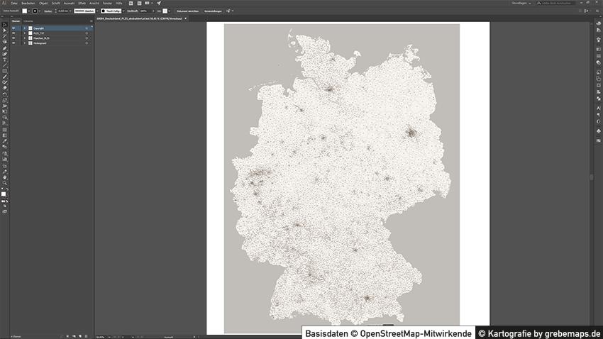 Deutschland Postleitzahlen PLZ-5 Vektorkarte abstrahiert, Karte PLZ Deutschland, Deutschland Karte PLZ, Vektorkarte Deutschland PLZ, Karte PLZ 5-stellig Deutschland