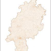 Hessen Vektorkarte Landkreise Gemeinden PLZ-5, Karte Hessen Landkreise, Karte Hessen Gemeinden, Karte Hessen Postleitzahlen 5-stellig, Vektorkarte Hessen