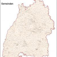 Baden-Württemberg Vektorkarte Landkreise Gemeinden PLZ-5, Karte Baden-Württemberg Gemeinden, Karte Baden-Württemberg Landkreise, Karte Baden-Württemberg Postleitzahlen, Baden-Württemberg Karte PLZ, Karte BW PLZ, Karte BW Gemeinden