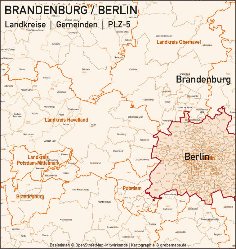 Brandenburg – Berlin Landkreise Gemeinden PLZ-5 Vektorkarte, Karte PLZ Brandenburg, Karte Brandenburg Gemeinden, Karte Brandenburg Landkreise, Postleitzahlenkarte Brandenburg Berlin