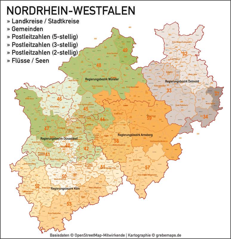 Nordrhein-Westfalen NRW Vektorkarte Landkreise Gemeinden PLZ-2-3-5, Karte NRW Gemeinden, Karte NRW Postleitzahlen, Karte NRW Landkreise, Karte Nordrhein-Westfalen Gemeinden