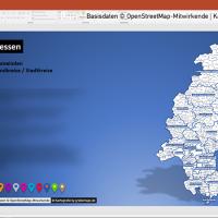 PowerPoint-Karte Hessen Landkreise Gemeinden Regierungsbezirke Vektorkarte, PowerPoint-Karte Hessen Gemeinden, Karte PowerPoint Hessen Gemeinden, Karte PowerPoint Hessen Landkreise