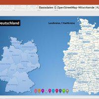 PowerPoint-Karte Deutschland Landkreise Vektorkarte, PowerPoint-Karte Landkreise Deutschland, Karte PowerPoint Landkreise Deutschland