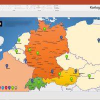 D-A-CH PowerPoint-Karte Deutschland Austria Schweiz mit Bundesländern / Kantonen, Karte PowerPoint Deutschland Schweiz Österreich DACH D-A-CH, PowerPoint-Karte D-A-CH