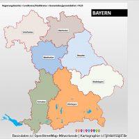 PowerPoint-Karte Bayern Regierungsbezirke Landkreise Gemeinden Postleitzahlen PLZ-5, Karte PLZ Bayern PowerPoint, Karte Landkreise Bayern PowerPoint, Karte Gemeinden Bayern PowerPoint