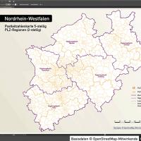 Nordrhein-Westfalen Postleitzahlenkarte 5-stellig PLZ-5 Vektorkarte PLZ-2 Landkreise, Autobahnen, Regierungsbezirke, Gewässer, Vektorkarte NRW, Karte NRW PLZ, Karte PLZ NRW, Karte Landkreise NRW