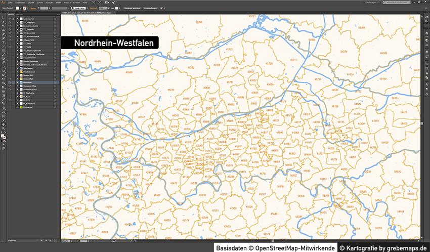 Nordrhein-Westfalen Postleitzahlenkarte 5-stellig PLZ-5 Vektorkarte PLZ-2 Landkreise, Autobahnen, Regierungsbezirke, Gewässer, Vektorkarte NRW, Karte NRW PLZ, Karte PLZ NRW, Karte Landkreise NRWq