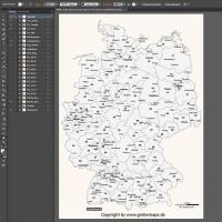 Deutschland Postleitzahlenkarte Vektor PLZ-2 mit Autobahnen, Karte Postleitzahlen Deutschland PLZ-2, Karte PLZ-2 Deutschland, Karte PLZ Deutschland Vektor