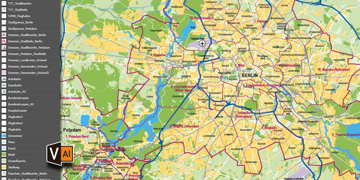 Karte Berlin Potsdam