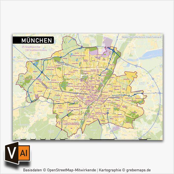 München Stadtplan Vektor Stadtbezirke Stadtteile Topographie, Karte München, Stadtplan München, Stadtkarte München, Karte München Stadtteile, Karte München Stadtbezirke