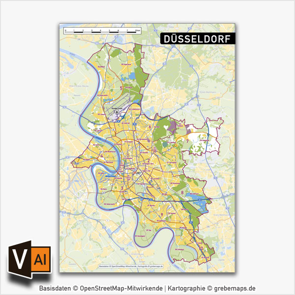Düsseldorf Stadtplan Vektorkarte Stadtbezirke Stadtteile Topographie, Karte Düsseldorf Vektor Vektorkarte Düsseldorf AI, Stadtplan Düsseldorf Vektordaten, Karte Düsseldorf Stadtteile, Karte Düsseldorf Stadtbezirke