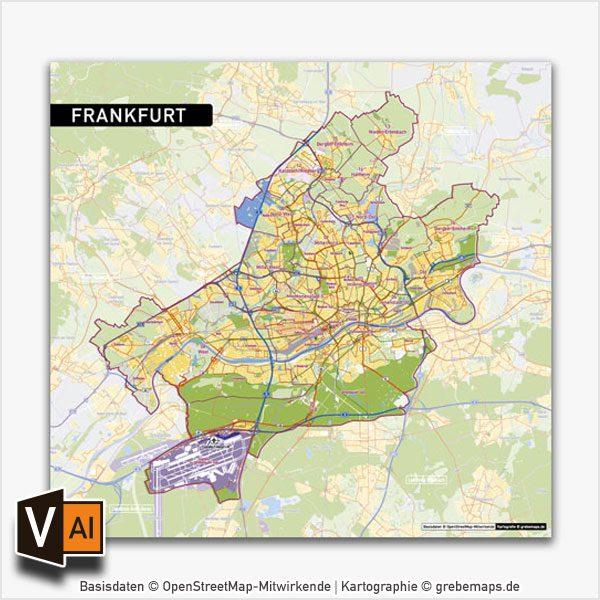Frankfurt Am Main Stadtplan Vektor Stadtbezirke Stadtteile