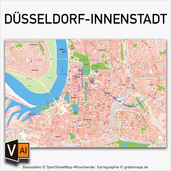 Düsseldorf-Innenstadt Stadtplan Vektorkarte Basiskarte