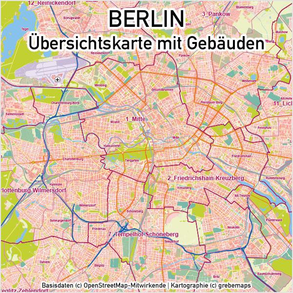 Berlin Karte Vektor Ubersicht Mit Gebauden Stadtteilen Topographie