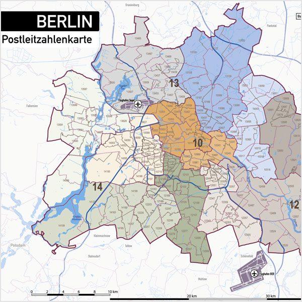 Berlin Postleitzahlen PLZ-5 Topographie Stadtbezirke Stadtteile Vektorkarte, Karte Berlin Postleitzahlen, Vektorkarte Berlin Postleitzahlen, PLZ-Karte Berlin, Karte Berlin PLZ Stadtteile, Vektorkarte Berlin PLZ Stadtteile