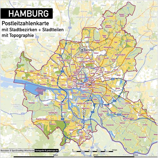 Hamburg Stadtplan Postleitzahlen Plz 5 Topographie Stadtbezirke