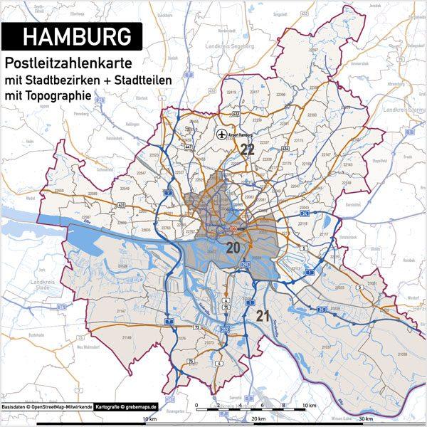 Hamburg Stadtplan Postleitzahlen PLZ-5 Topographie Stadtbezirke Stadtteile Vektorkarte, Karte Hamburg Postleitzahlen PLZ-5, PLZ-Karte Hamburg, Hamburg Karte PLZ, Postleitzahlen 5-stellig Hamburg