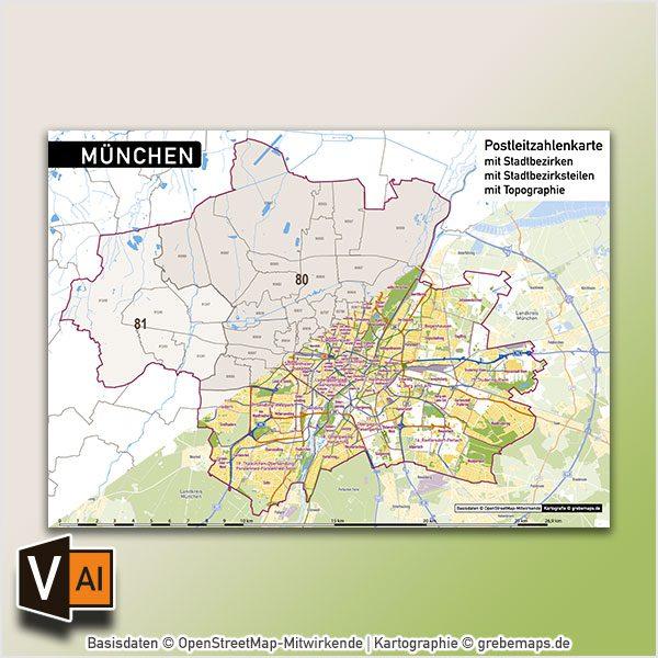 Karte München Stadtteile.München Postleitzahlen Plz 5 Topographie Stadtbezirke Stadtteile Vektorkarte Digital