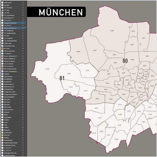 Munchen Postleitzahlen Plz 5 Topographie Stadtbezirke Stadtteile