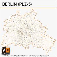 Berlin Postleitzahlen-Karte PLZ-5 Vektor, Vektorkarte PLZ Berlin 5-stellig, Karte PLZ Berlin, Karte Postleitzahlen Berlin