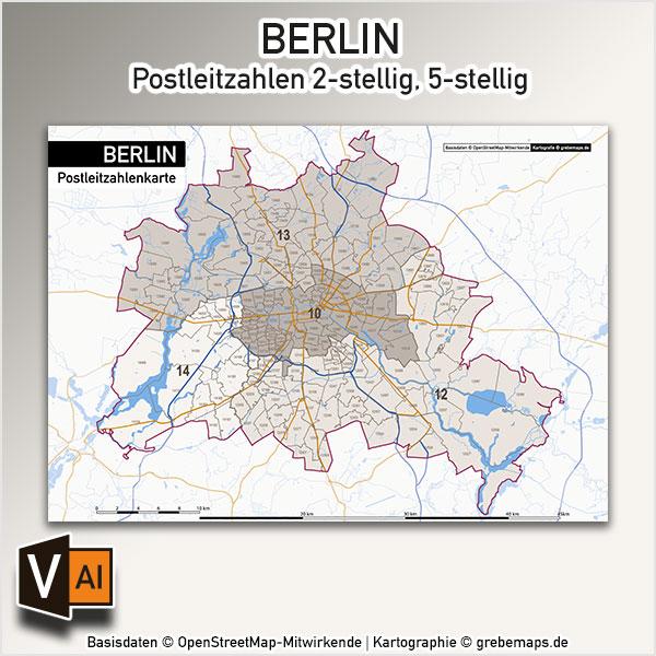 Berlin Karte Postleitzahlen PLZ-5-2 Vektorkarte, Karte Berlin PLZ, Postleitzahlenkarte Berlin, Berlin PLZ Karte, Karte PLZ Berlin, Karte PLZ 5-stellig Berlin