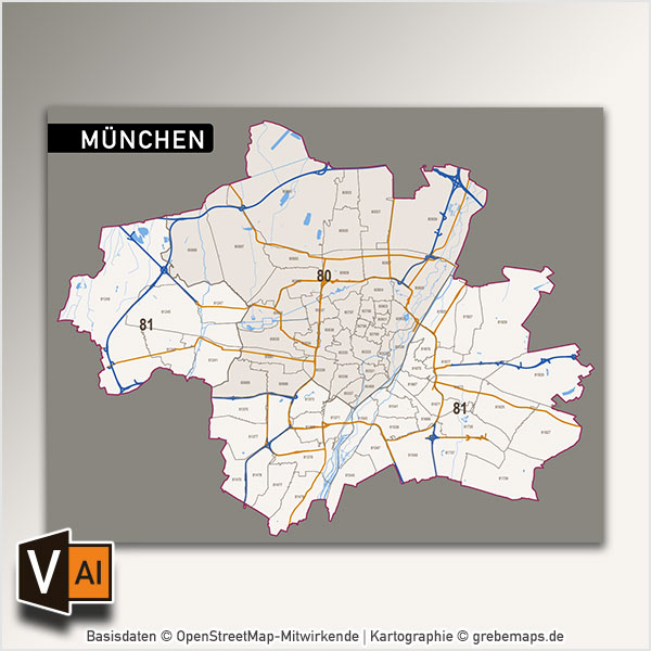 München Postleitzahlenkarte PLZ-5 (5-stellig) Vektorkarte, München Postleitzahlenkarte Vektor PLZ-5, Vektorkarte München PLZ, Karte München PLZ, Postleitzahlenkarte München, Karte PLZ München 5-stellig