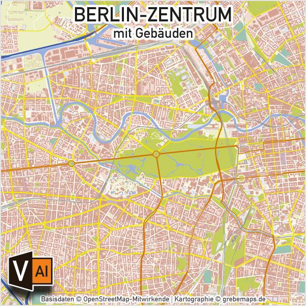 Berlin-Zentrum Vektorkarte mit Gebäuden Basiskarte, Karte Berlin Zentrum mit Gebäuden, Basiskarte Berlin-Zentrum, Vektorkarte Berlin-Zentrum