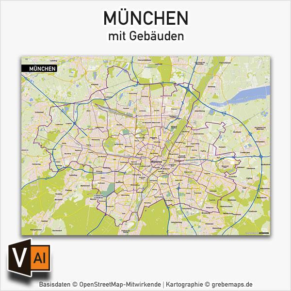 München Vektorkarte mit Gebäuden, Karte München, Stadtplan München, Basiskarte München mit Topographie, Karte Vektor München
