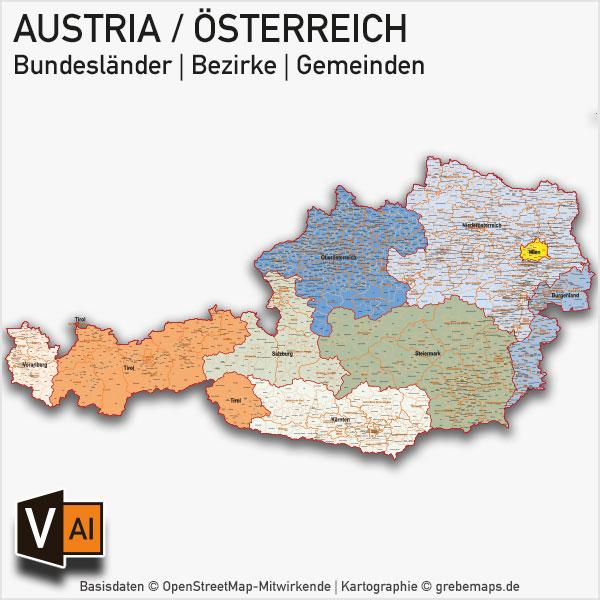 Osterreich Austria Vektorkarte Bundeslander Bezirke Gemeinden