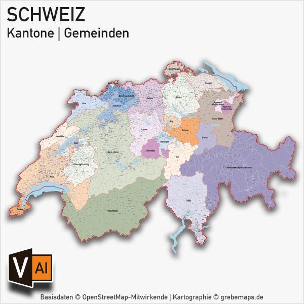 Schweiz Vektorkarte Kantone Gemeinden, Karte Kantone Gemeinden Schweiz, Karte Schweiz Gemeinden, Karte Schweiz Kantone, Karte Vektor Schweiz Kantone, Landkarte Schweiz Kantone, Vektorkarte Kantone Schweiz, Vektorkarte Schweiz
