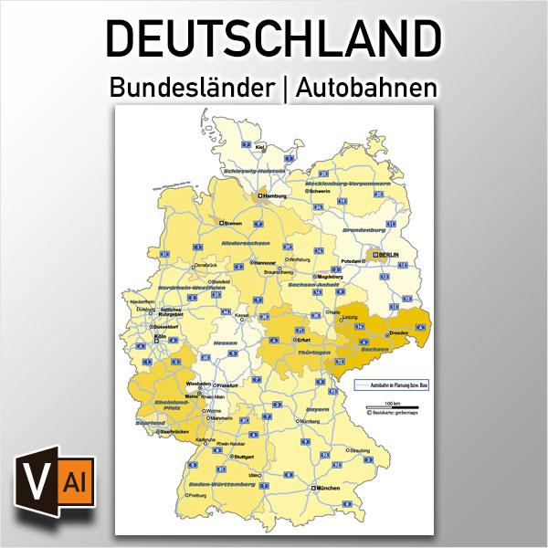 Deutschland Bundesländer Autobahnen Vektorkarte, Karte Deutschland Bundesländer, Vektorkarte Deutschland Bundesländer, Karte Deutschland Autobahnen