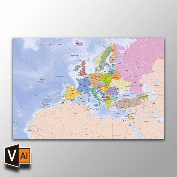 Europakarte Vektor mit Provinzen flächentreu, Karte Europa flächentreu, Europakarte flächentreu, Karte Vektor Europa AI