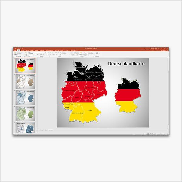 PowerPoint-Karte Deutschland Bundesländer, Karte Deutschland Bundesländer, Bundesländer Karte Deutschland PowerPoint