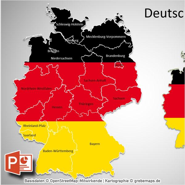 Powerpoint Karte Deutschland Bundeslander Grebemaps B2b Kartenshop