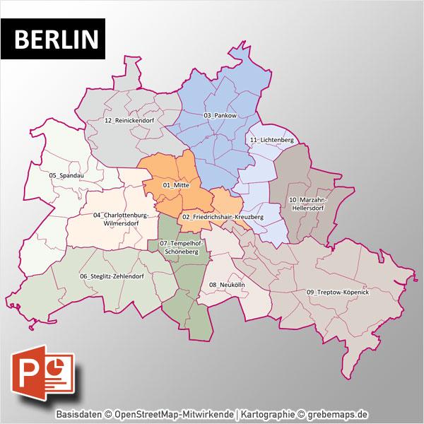 PowerPoint-Karte Berlin mit Bezirken und Stadtteilen, Karte PowerPoint Berlin Stadtbezirke, Karte PowerPoint Berlin Stadtteile, Vektorkarte Berlin Stadtteile PowerPoint